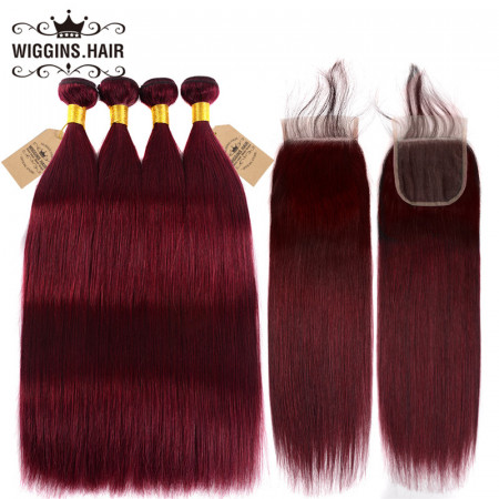 Straight Hair #99J Color 4 Bundles