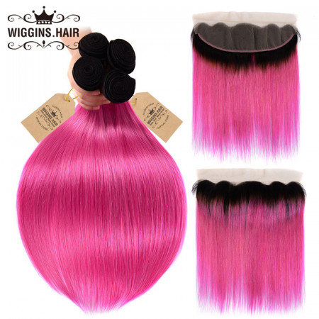 Brazilian Straight Hair 1B/Pink 4pcs