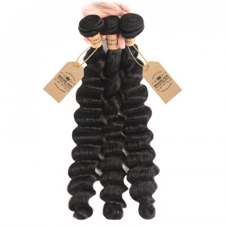 Peruvian Human Virgin Hair Loose Deep Wave Weave 3 Bundles