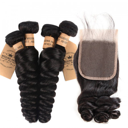 4pcs/Lot Loose Wave With 4*4 Lace Closure Peruvian Virgin Hair