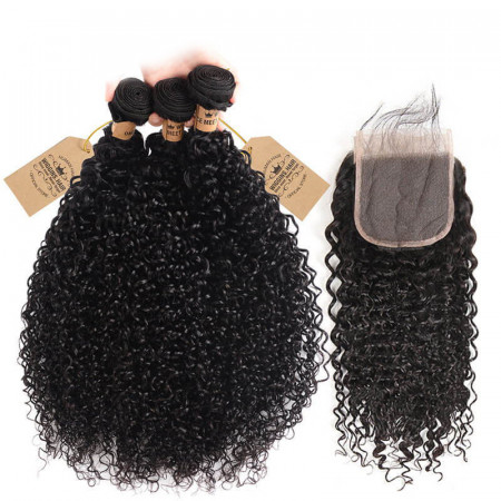 Human Virgin Hair 3pcs Brazilian Jerry Curly Hair Wefts With Closure