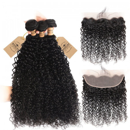3pcs Brazilian Virgin Hair Jerry Curly Hair Weft With Lace Frontal Closure