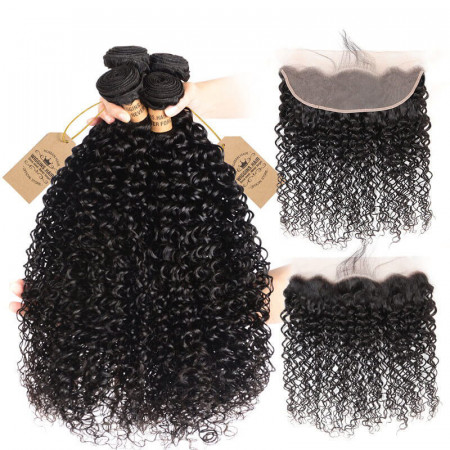 Peruvian Curly Hair 4 Bundles 13×4 Lace Frontal Curly Afro Weave