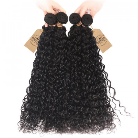 Natural Wave Water Wave Weave Malaysian Hair Bundles 4pcs Hair