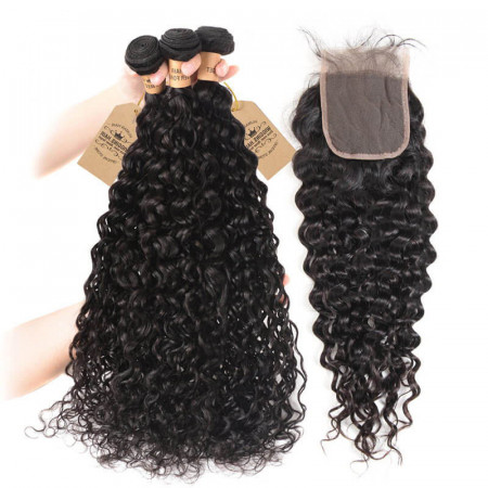Peruvian Natural Waves 3 Bundles Hair With 4*4 Lace Closures