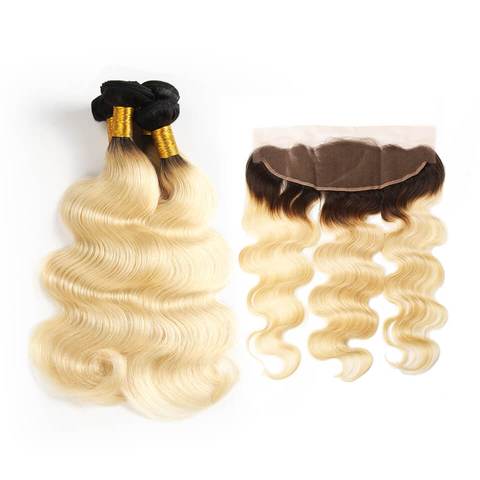 Ombre Hair 1b613 Color Body Wave Weave 4pcs With Lace Frontal