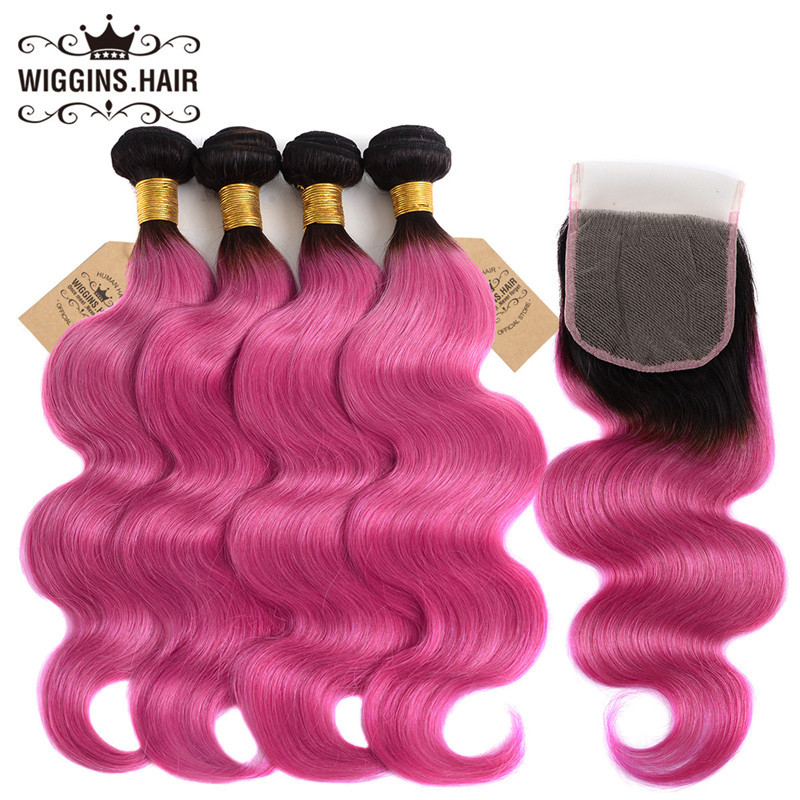 Ombre Hair Color 1bpink Body Wave Human Hair Weave 4pcs With Lace