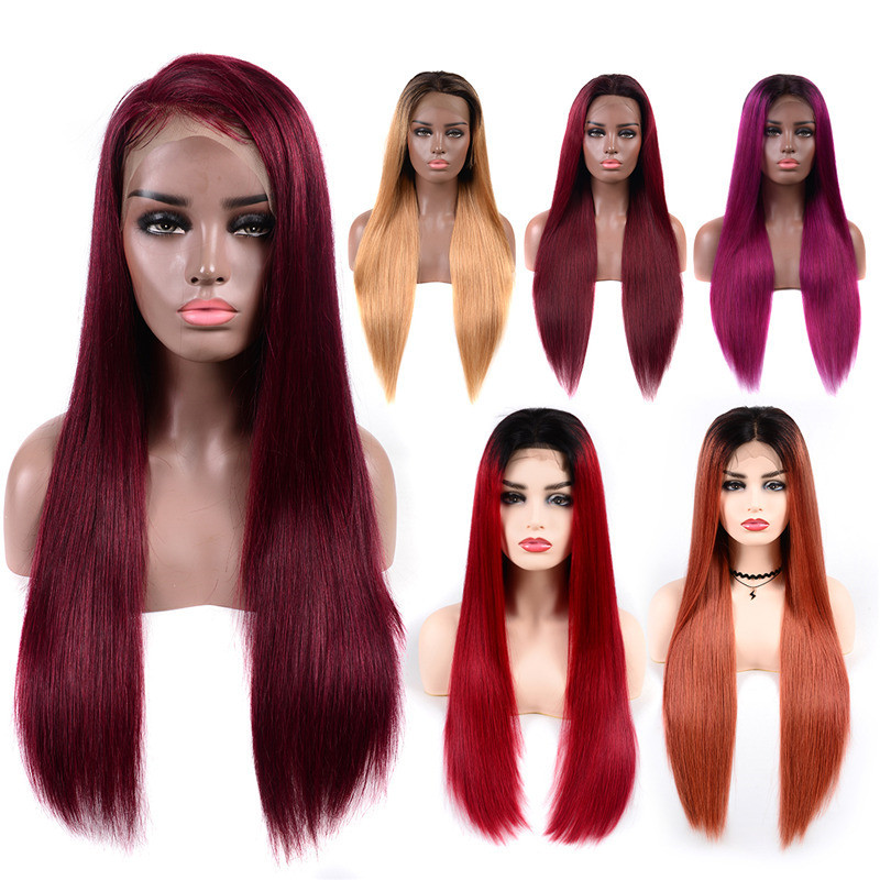 Human Hair Color Wigs Slightly Bleached Knots Straight Lace Front