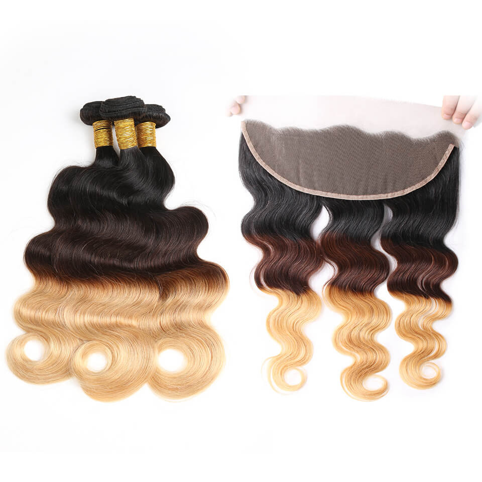 Ombre Hair Color 1b427 Body Wave Weave 3 Bundles With Lace Frontal