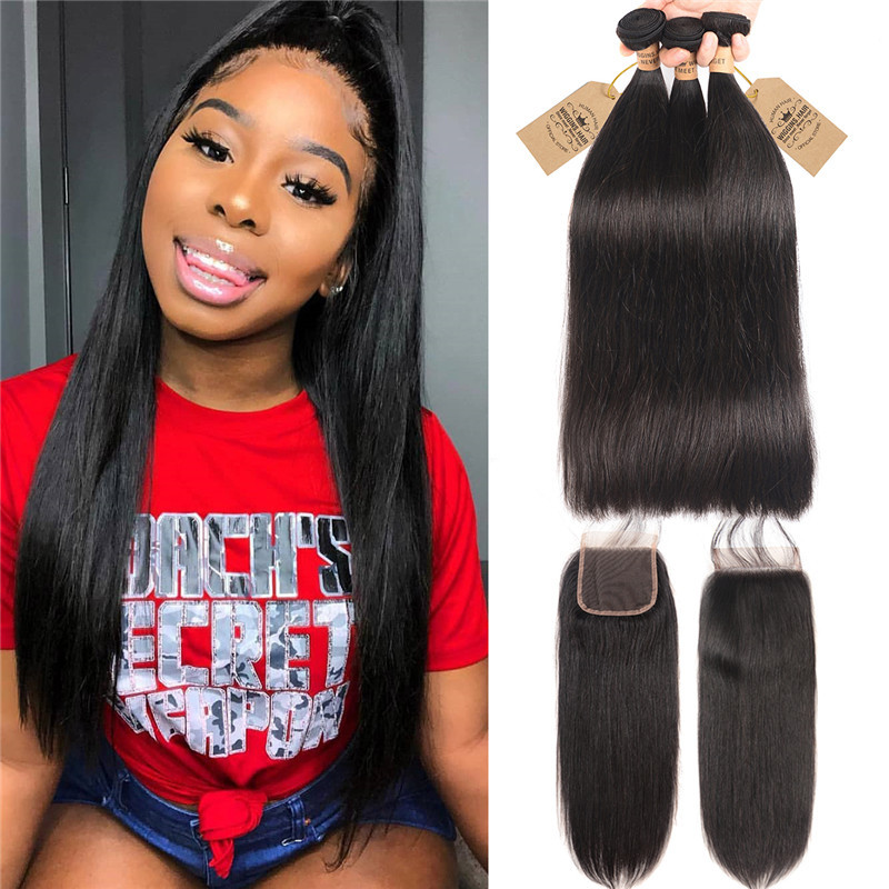 Peruvian Hair Bundles Straight Hair With Closure 3 Bundles