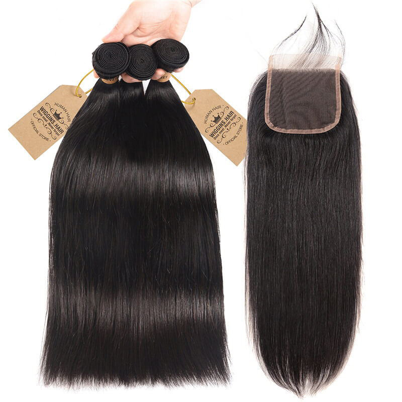Wigginshair 3 Bundles Brazilian Virgin Hair Straight With Closure
