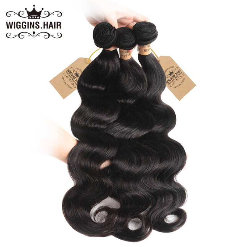 Wiggins Hair 3 Bundles Body Wave Hair With Lace Frontal Hair Closure