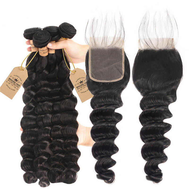 Loose Deep 4pc Weaves With Closures 44 Lace Closure Human Hair