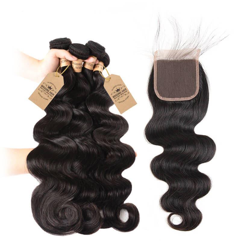 Brazilian Body Wave Virgin Hair 4pcs With Lace Closure Wiggins Hair