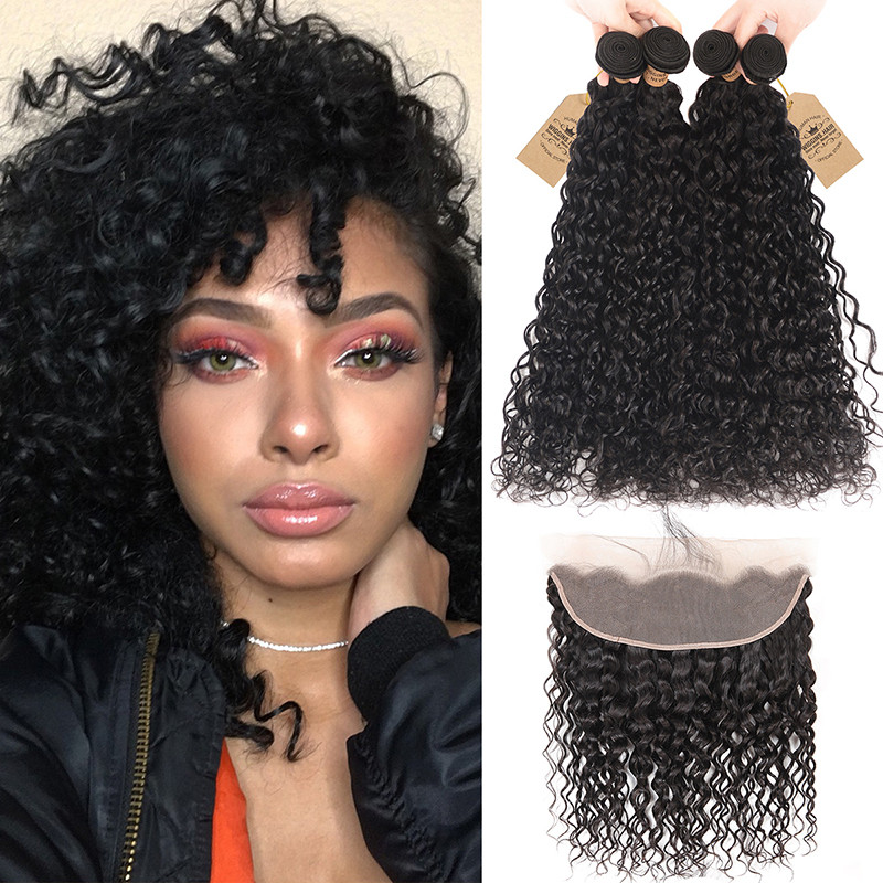 13x4 Inch Frontal With 4pcs Natural Wave Wiggins Peruvian Hair