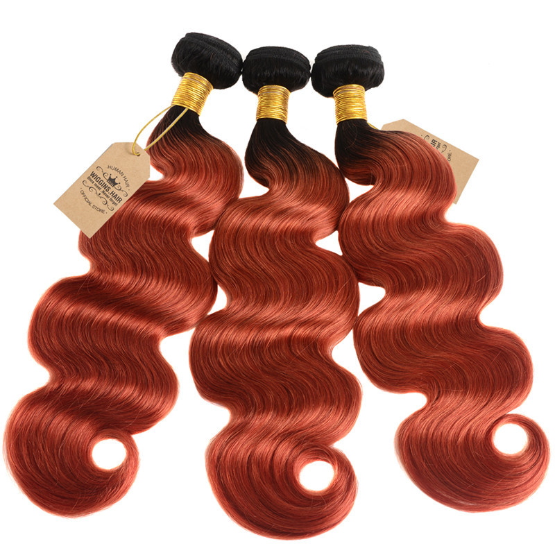 Top Quality 1b350 Color Body Wave Ombre Hair Weave Free Shipping