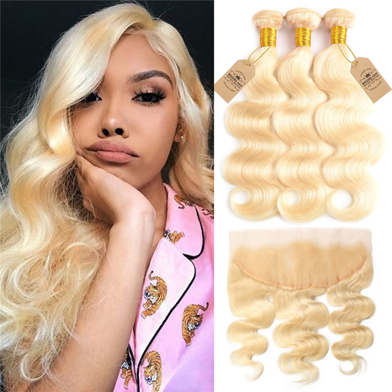 Blonde Hair 613 Color Human Virgin Hair Body Wave With Lace Frontal