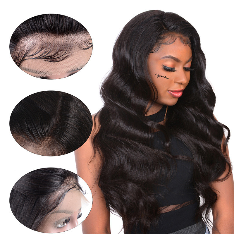 Wiggins Hair Body Wave Lace Frontal Wigs Pre Plucked Brazilian