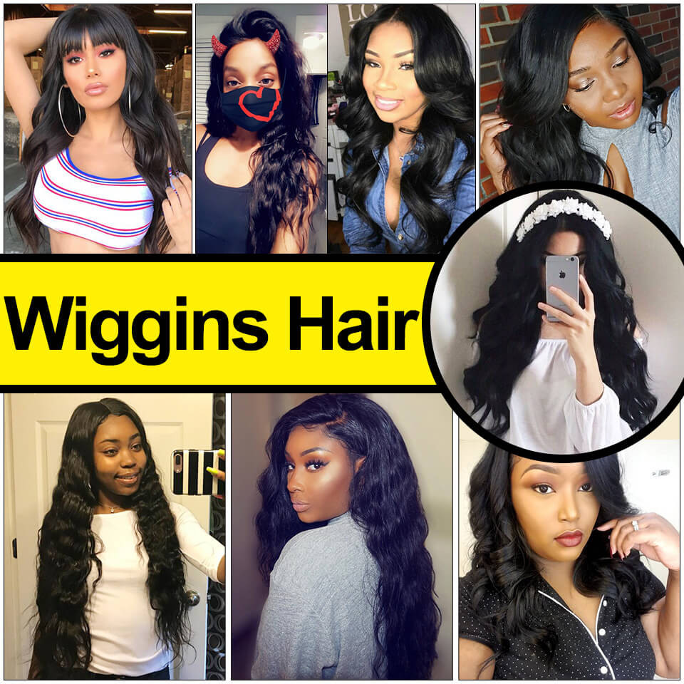 Wiggins Hair 3 Bundles Brazilian Body Wave With Lace Closure