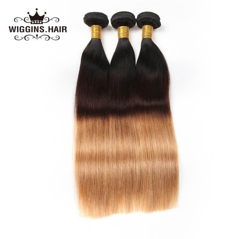 Brazilian Virgin Hair Ombre Color 1b427 3pcs Straight Human Virgin
