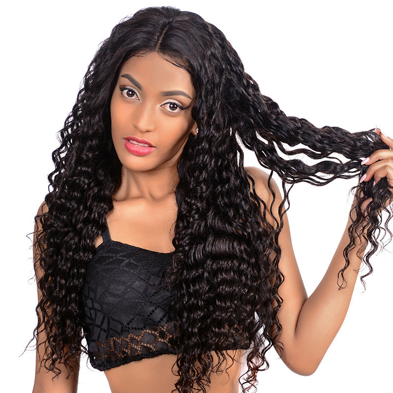 250 Density Water Natural Wave 4x4 Lace Wigs For Black