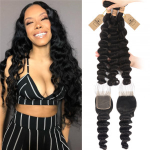 Loose Deep 3 Bundles With Lace Closure