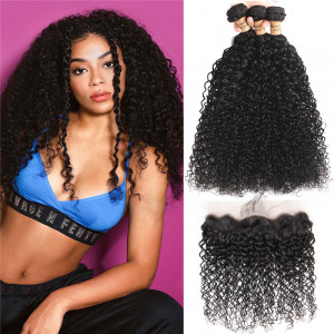Brazilian Curly Hair With Lace Frontal