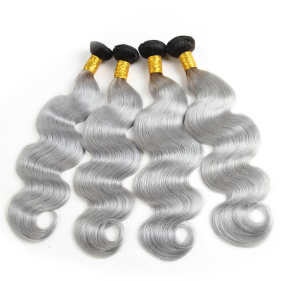 4pcs 1B/Grey Color Ombre Human Virgin Hair Body Wave Weave