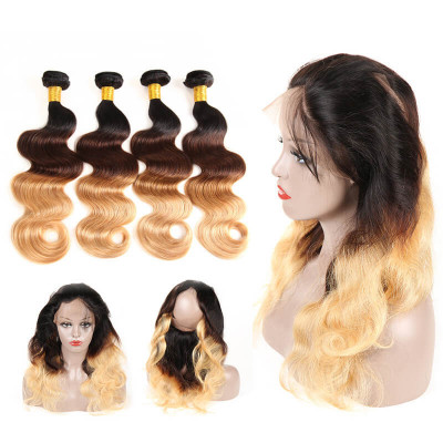 1B/4/27 Color Ombre Hair Body Wave Virgin Hair With 360 Lace Frontal