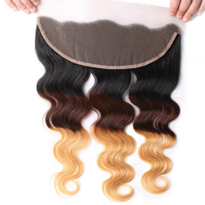 1B/4/27 Lace Frontal Brazilian Body Wave13x4 Pre Plucked With Baby Hair