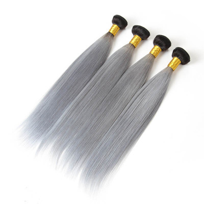 1B/Grey Color 4pcs Straight Ombre Virgin Hair Bundles Hot Sale