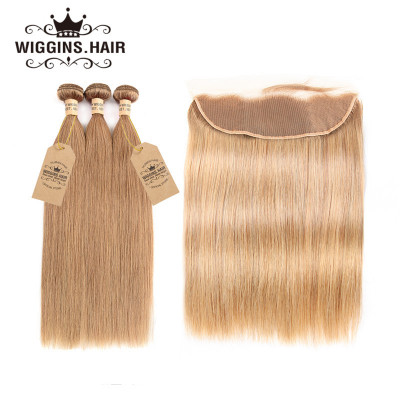 #27 Brazilian Straight Hair 3 Bundles Honey Blonde With Lace Frontal