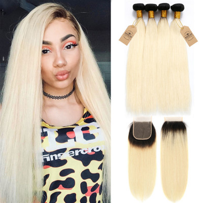 Straight 1B/613 Ombre Color Brazilian Virgin Hair 4 Bundles With Closure