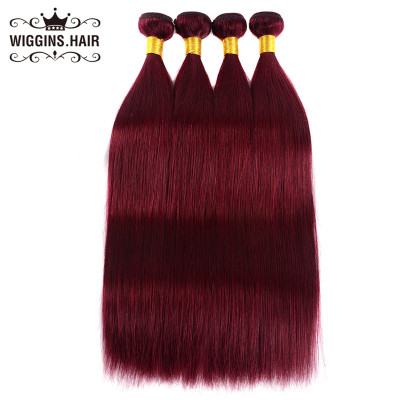 Human Virgin Hair Color 99J Burgundy 4pcs Straight Hair Bundles