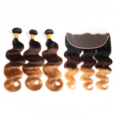 1B/4/30 Color Body Wave 3 Bundles Hair With Lace Frontal
