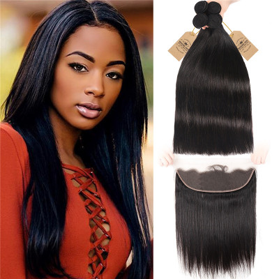 Straight 4 Bundles With 13*4 Lace Frontal 8A Peruvian Human Virgin Hair