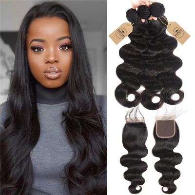 3 Bundles Brazilian Human Hair Body Wave With Lace Closure