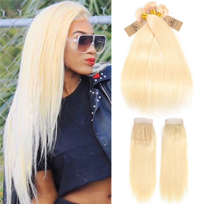 613 Color Blonde Virgin Hair Straight Hair Bundles With Closure