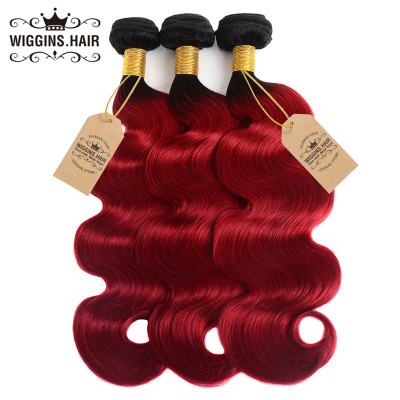 1B/Red Ombre Color Hair Body Wave Weave Human Hair Bundles