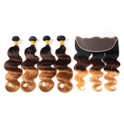 Ombre Hair 1B/4/30 Body Wave 4 Bundle Deals With Lace Frontal