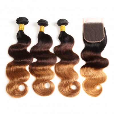 Body Wave Weave 1B/4/30 Ombre Hair 3pcs With Lace Closure