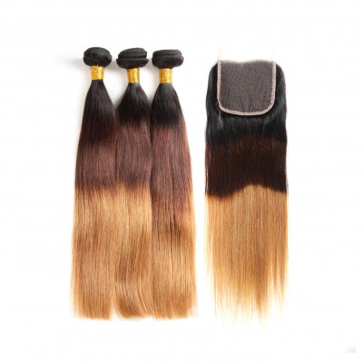 Brazilian Straight 1B/4/30 Ombre Hair 3pcs With Lace Closure