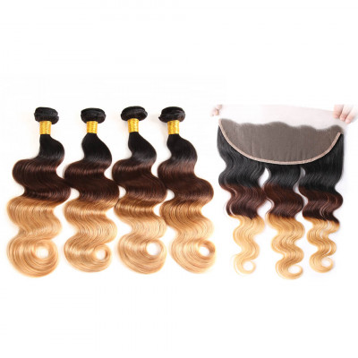 Body Wave Weave 1B/4/27 Color Human 4 Bundles With Lace Frontal