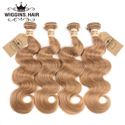 Color #27 Honey Blonde 4pcs Human Virgin Hair Body Wave Hair