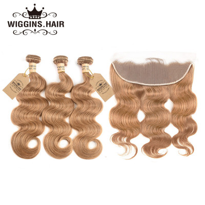 Color #27 Honey Blonde Brazilian Body Wave 3pcs Hair With Lace Frontal