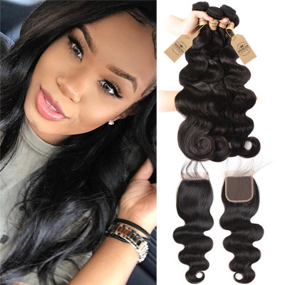 Peruvian Body Wave 100% Human Virgin Hair 4pcs With Lace Closure