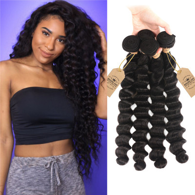 High Quality Loose Deep Wave 4 Hair Bundles Peruvian Virgin Hair