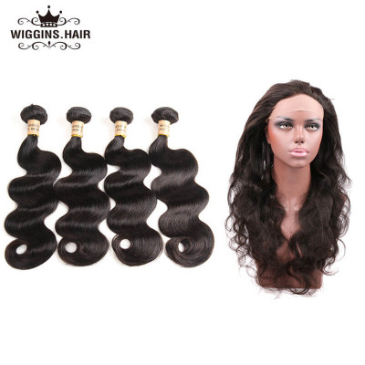 Brazilian Body Wave Hair 4 Bundles With 360 Lace Frontal For Sale