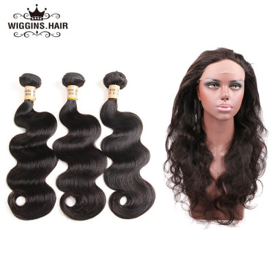 Peruvian Body Wave Weave With 360 Lace Frontal Body Wave 3 Bundles