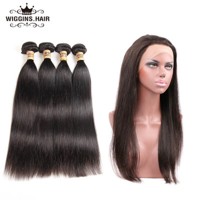 Peruvian Straight Hair Wave 4pcs With 360 Lace Frontal Weave Hairstyles
